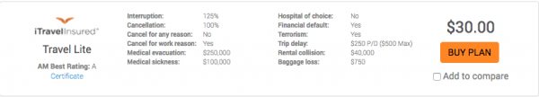China Airlines Travel Insurance iTI Lite | AardvarkCompare.com