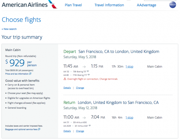 American Flight Insurance $929 SFO - LHR | AardvarkCompare.com