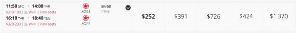 Air Canada Business Class $424 each way