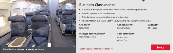 Air Canada Business Class - Protect with Travel Insurance