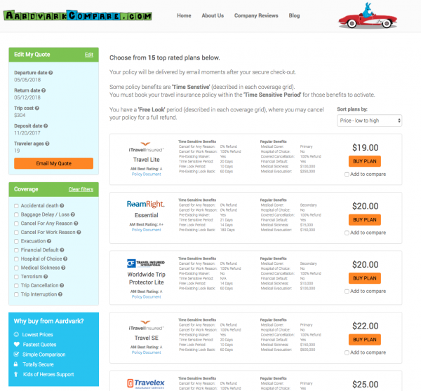 Southwest Airlines Travel Insurance - Options for USA | AardvarkCompare.com