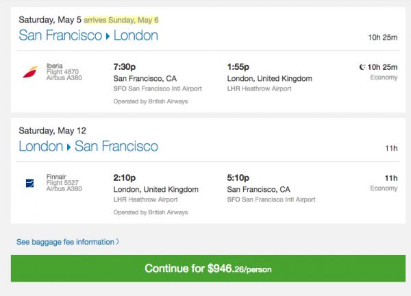 Priceline Travel Insurance - SFO - LHR $946 | AardvarkCompare.com