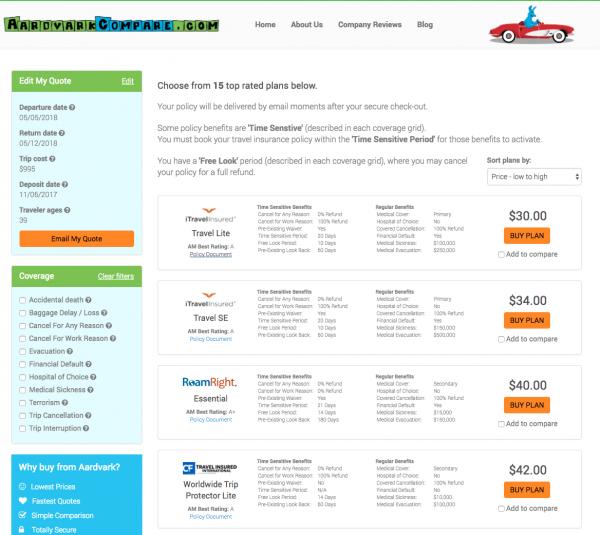 World Nomads Travel Insurance - Aardvark Options for Standard | AardvarkCompare.com