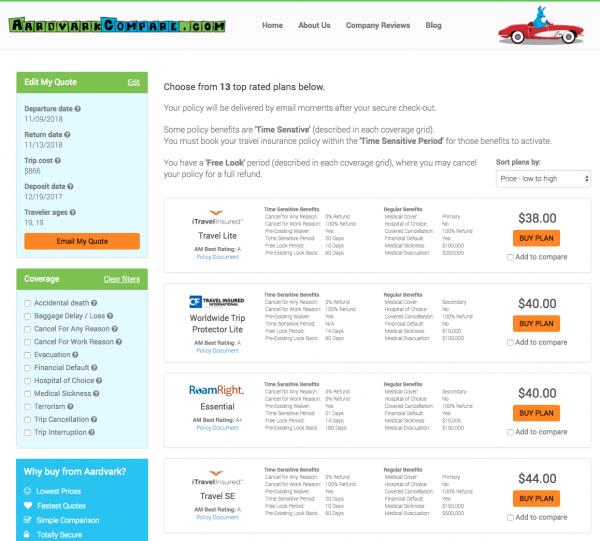 Carnival Cruise Travel Insurance - Aardvark Options | AardvarkCompare.com