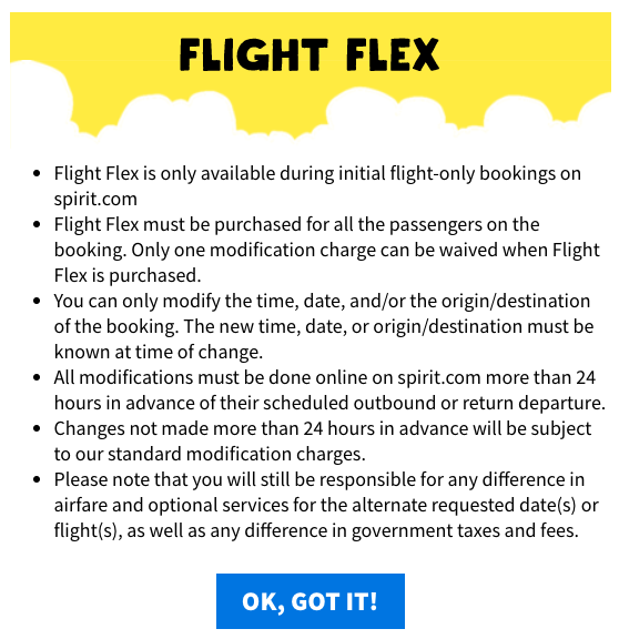 Spirit Travel Insurance - Flight Flex Details | AardvarkCompare.com