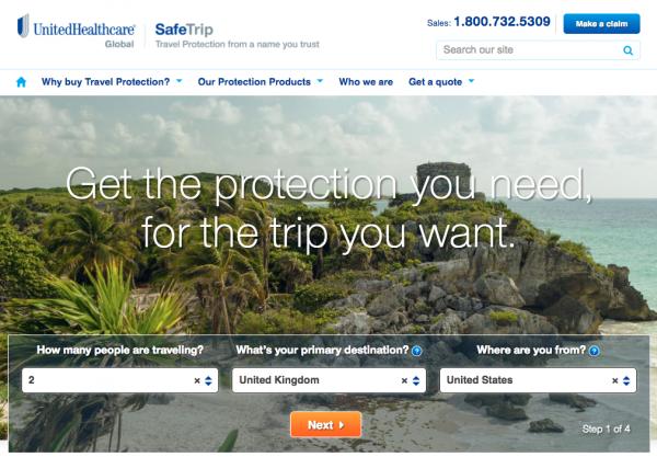 United Healthcare Travel Insurance - Step 1 | AardvarkCompare.com