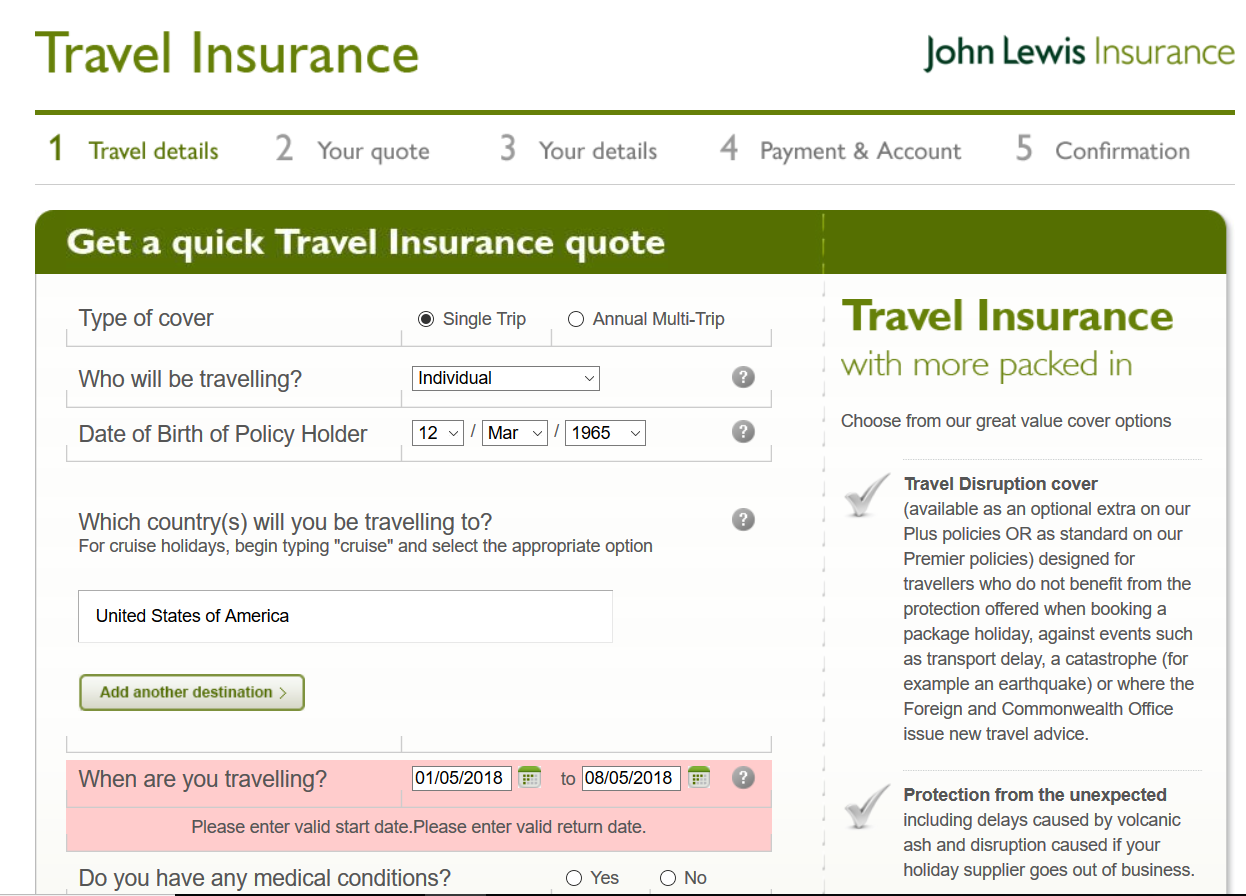 John-Lewis-Travel-Insurance Quick Quote 2 | AardvarkCompare.com