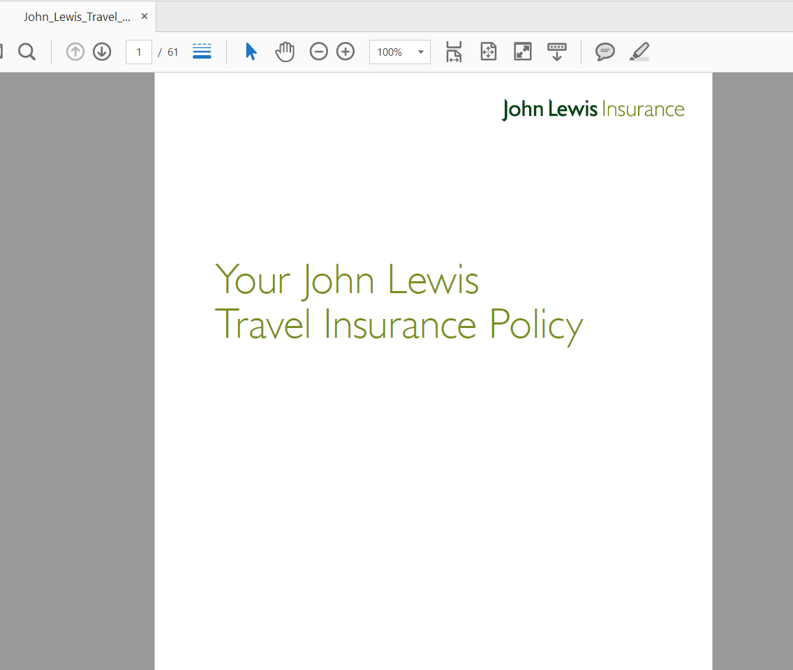 John-Lewis-Travel-Insurance Policy Document | AardvarkCompare.com