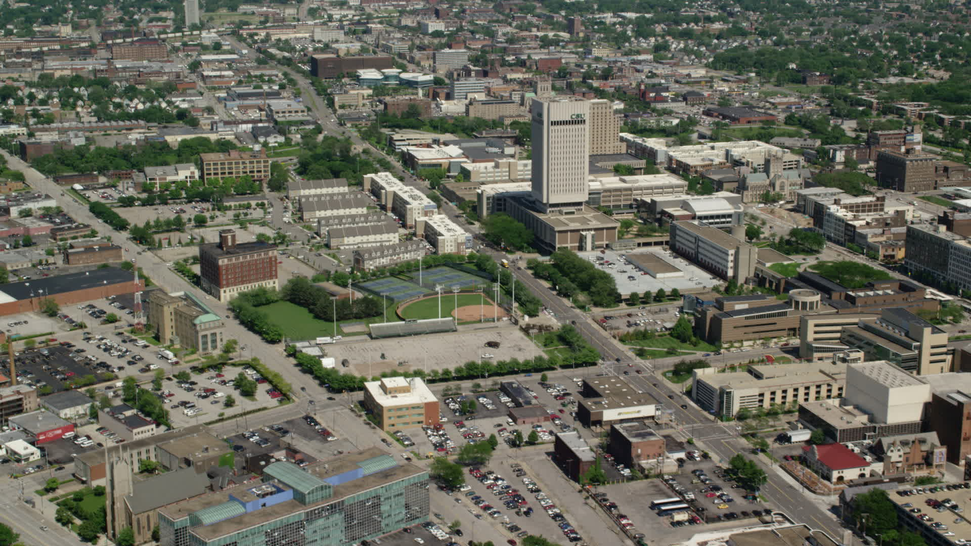 5K stock footage aerial video of the campus of Cleveland State University  in Cleveland, Ohio Aerial Stock Footage AX106_253 | Axiom Images