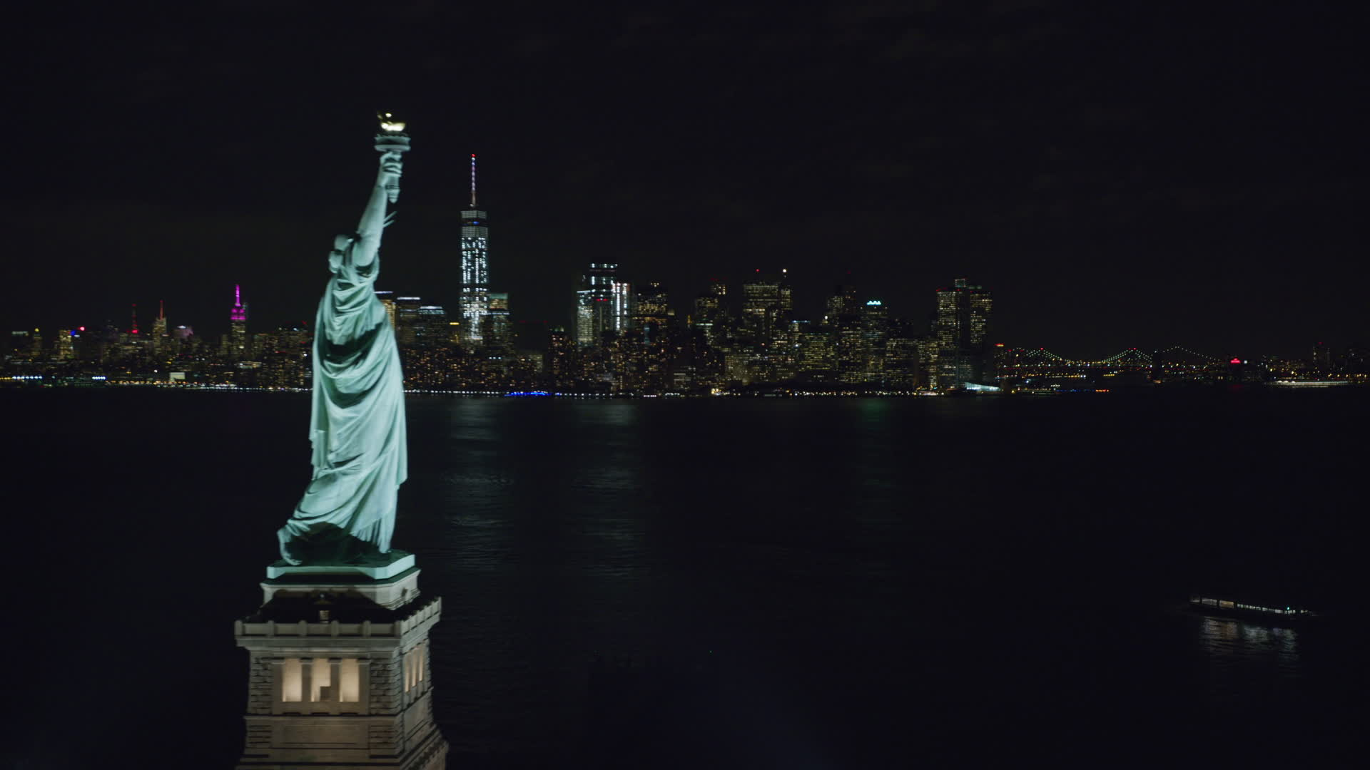 6k Stock Footage Aerial Video Of Statue Of Liberty And Lower Manhattan Skyline At Night New York Aerial Stock Footage Ax122 022 Axiom Images