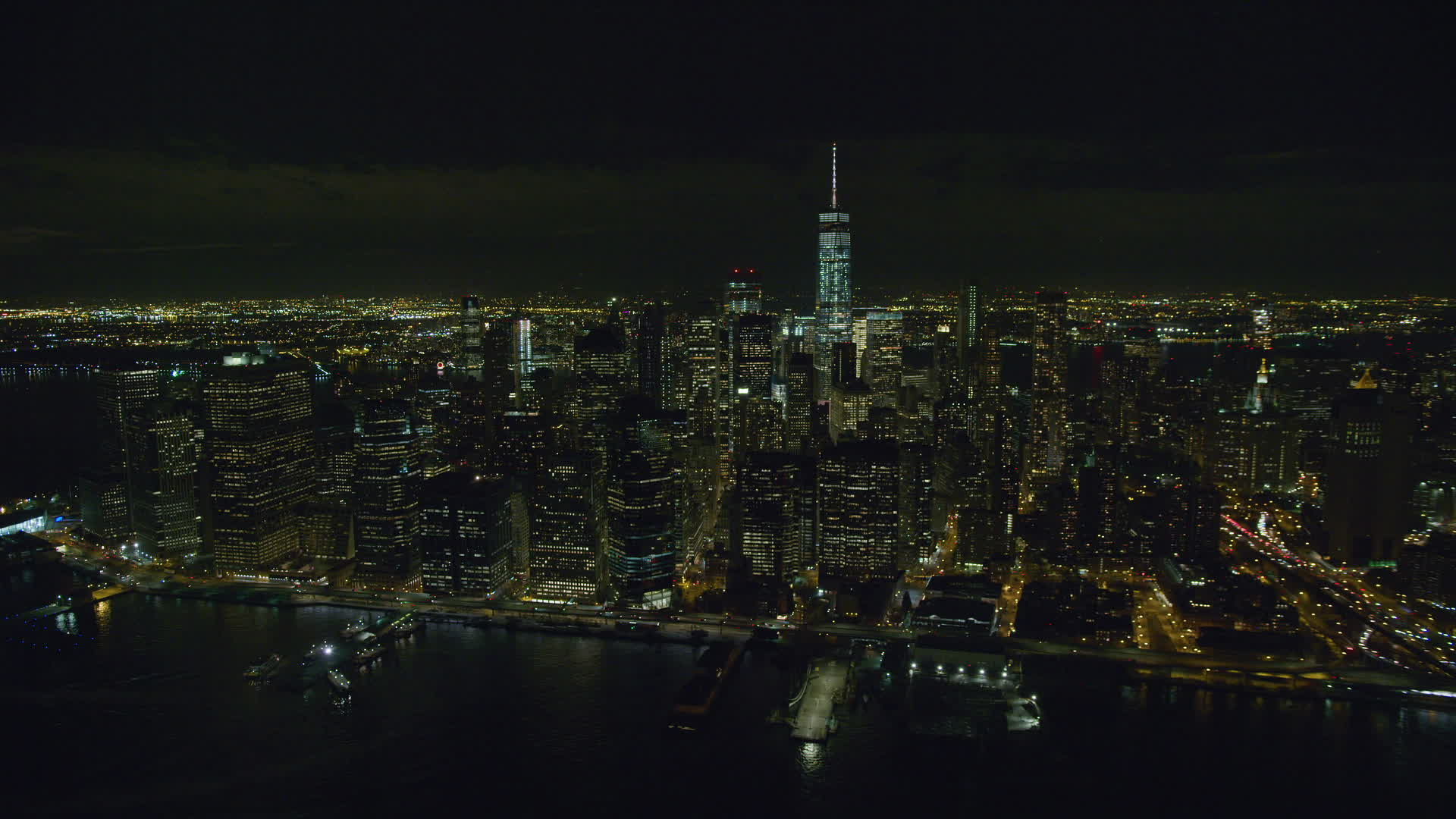 6k Stock Footage Aerial Video Of Lower Manhattan Skyscrapers At Nighttime In New York City Aerial Stock Footage Ax122 279 Axiom Images