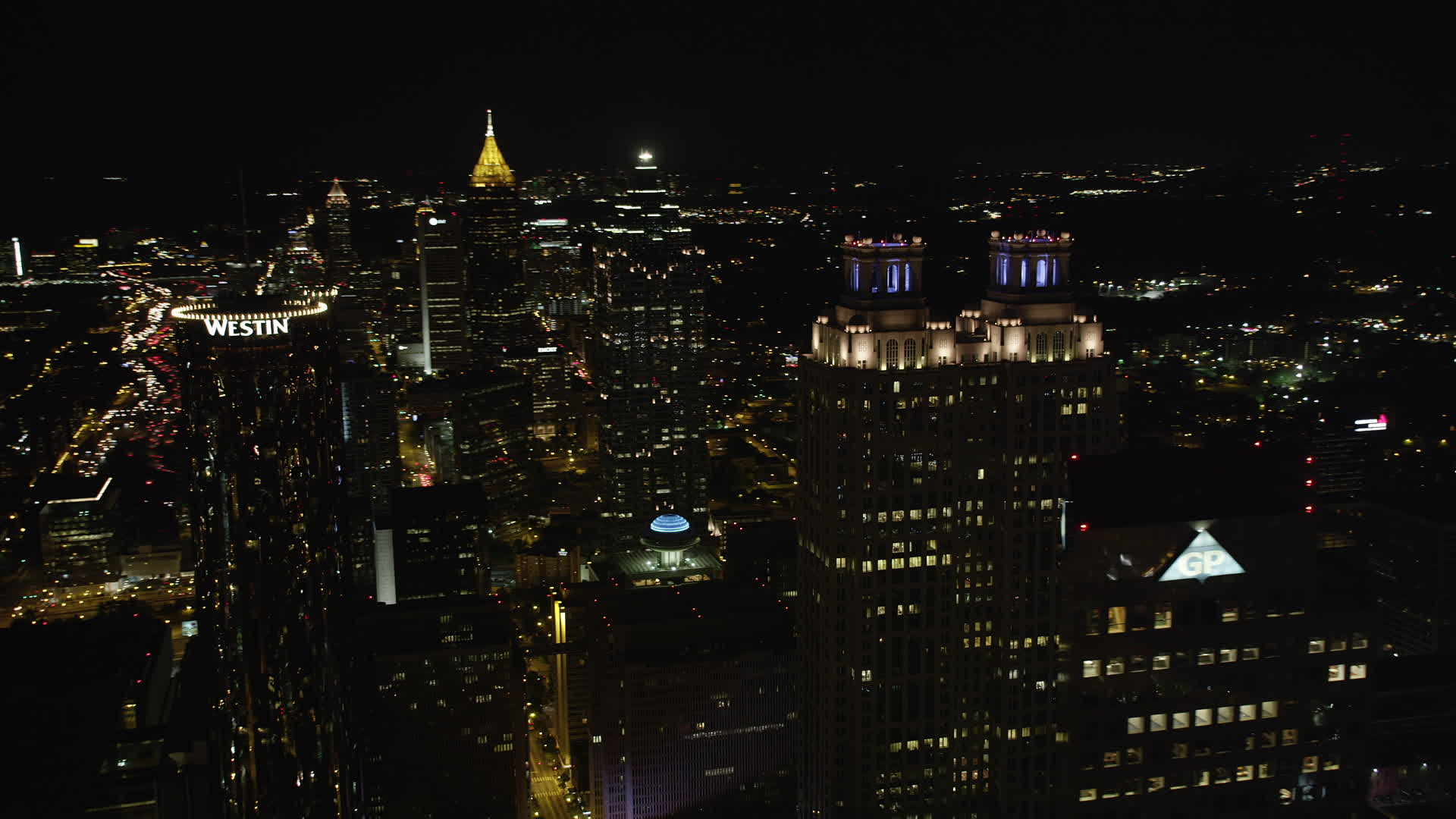 5K stock footage aerial video flying by tops of skyscrapers, Downtown  Atlanta, Georgia, night Aerial Stock Footage AX41_012 | Axiom Images