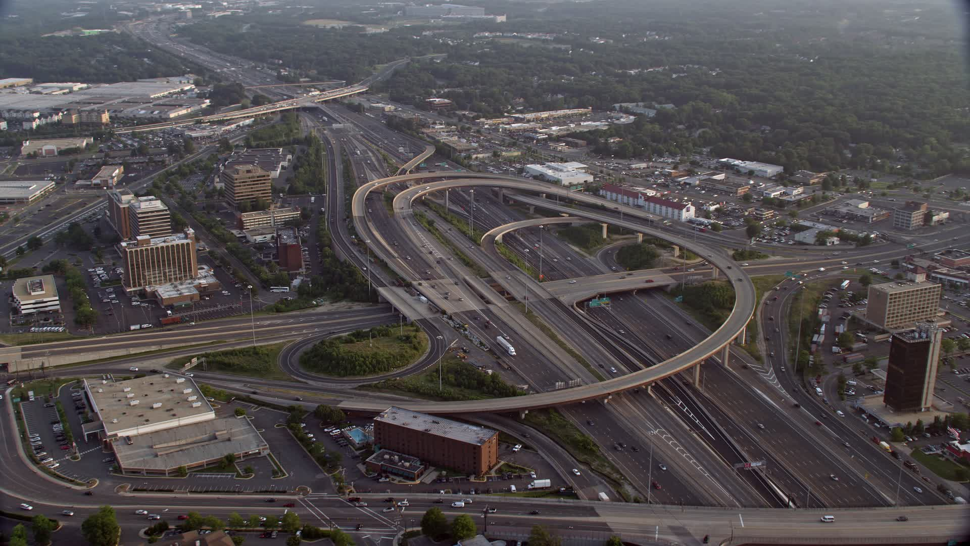 5K stock footage aerial video of Interstate 95 Interchange, Springfield,  Virginia, sunset Aerial Stock Footage AX76_022 | Axiom Images