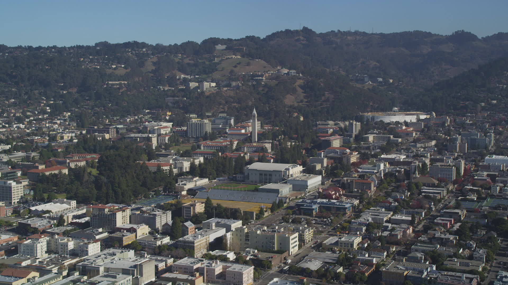 5K stock footage aerial video of approaching Sather Tower and University of  California Berkeley, Berkeley, California Aerial Stock Footage DFKSF08_004