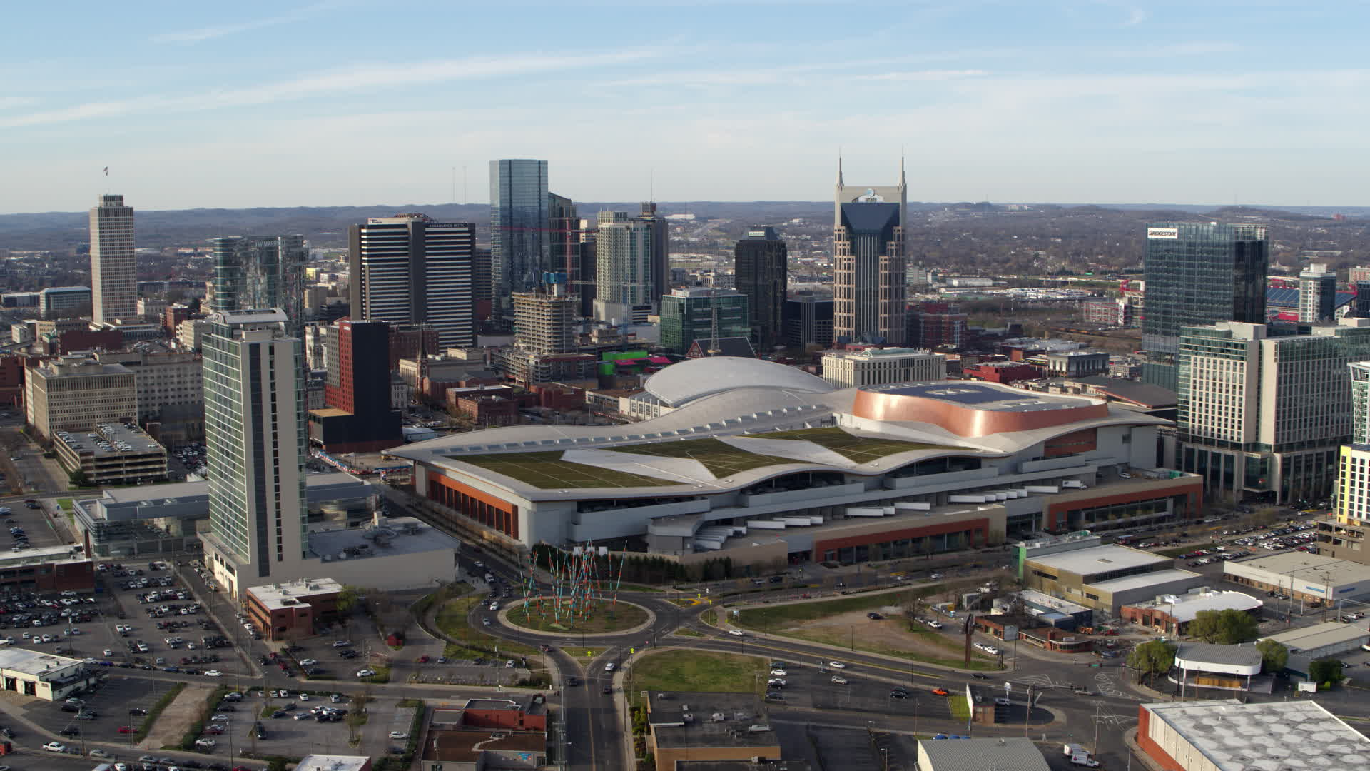 5 7k Stock Footage Aerial Video Passing By Nashville Music City Center And City S Skyline Downtown Nashville Tennessee Aerial Stock Footage
