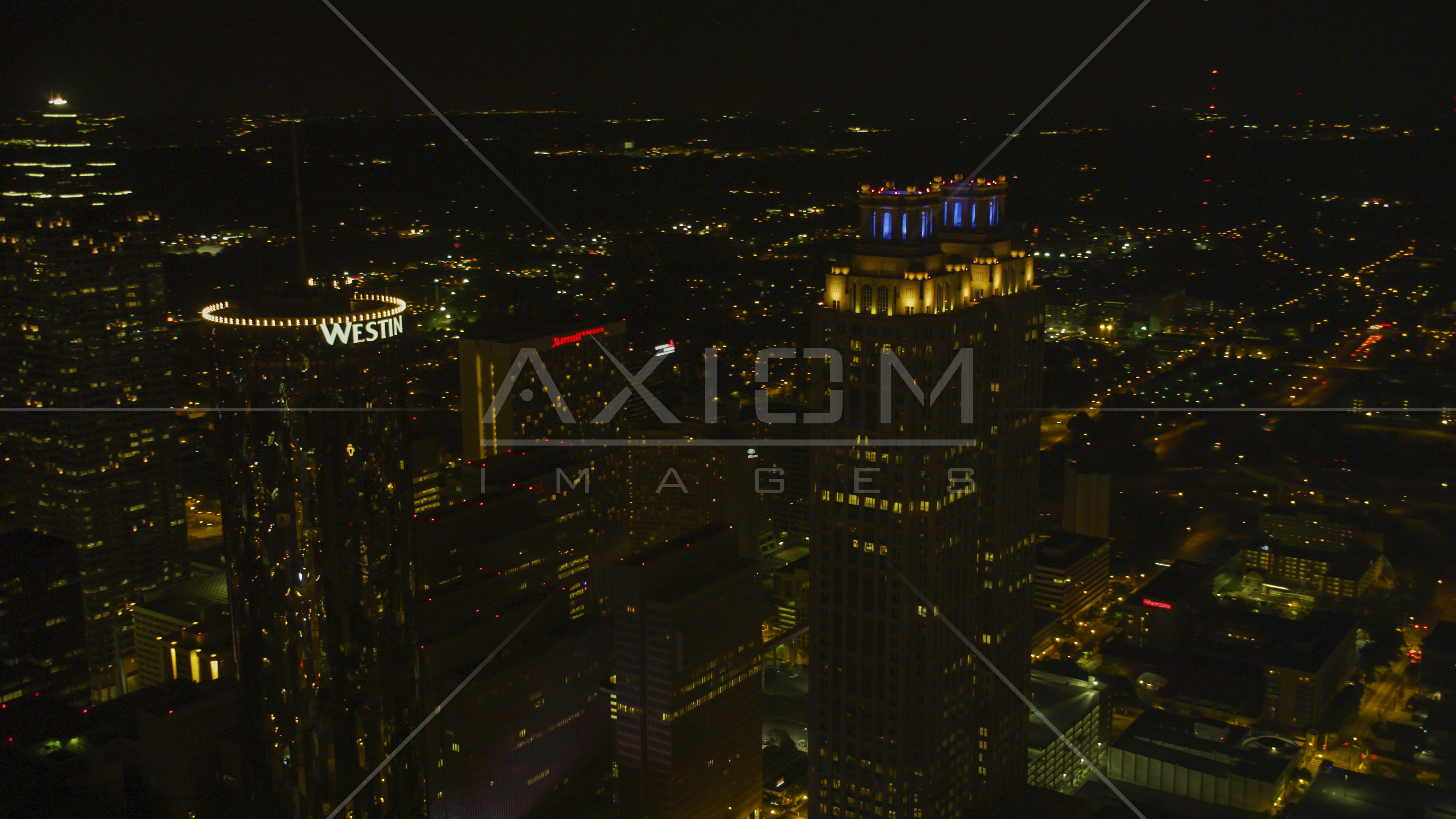Tops of skyscrapers in Downtown Atlanta, Georgia, night Aerial Stock Photos  AX41_011 0000224F   Axiom Images