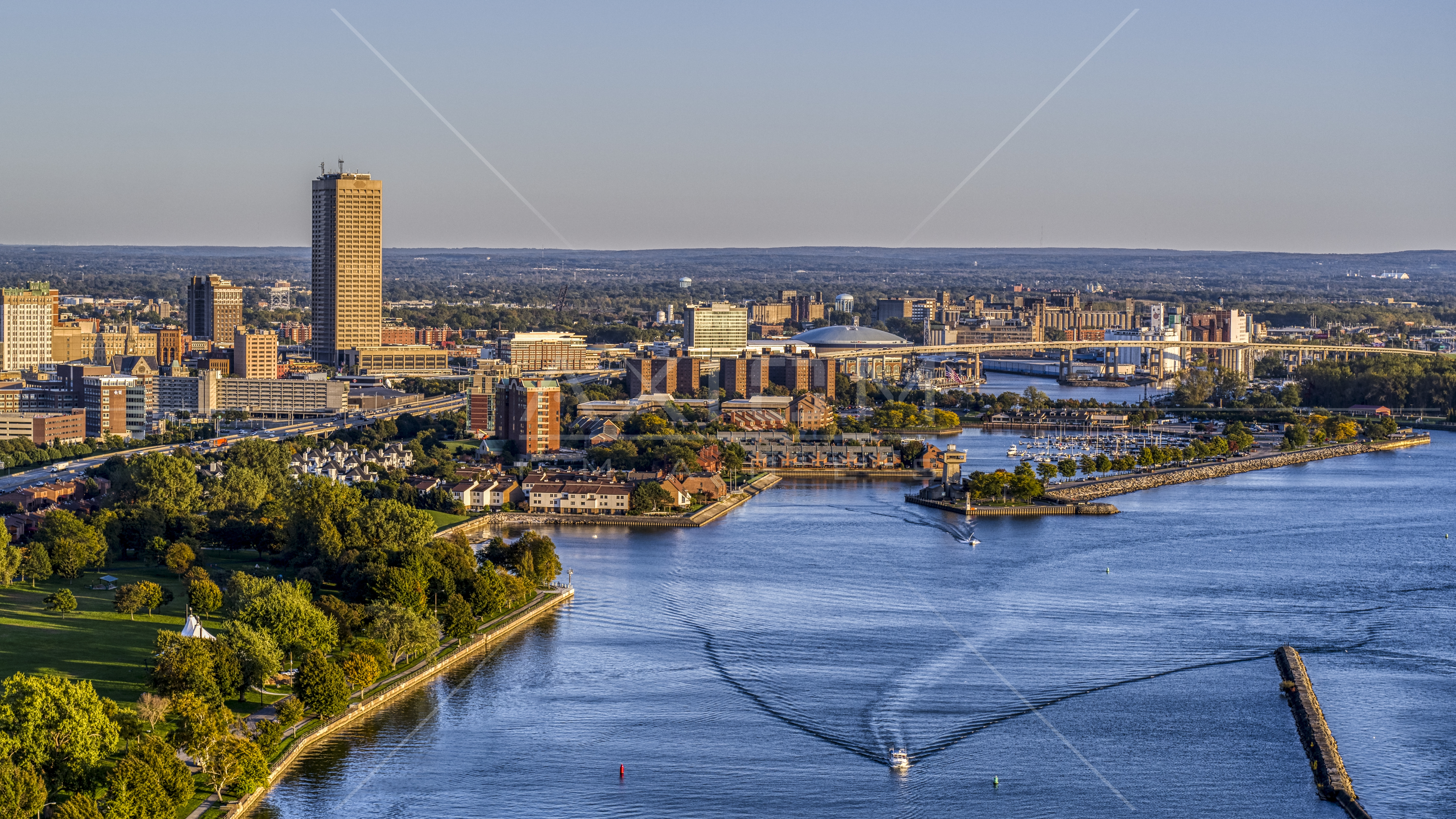Seneca One Tower And Buffalo River At Sunset Downtown Buffalo New York Aerial Stock Photo Dxp002 203 0008 Axiom Images