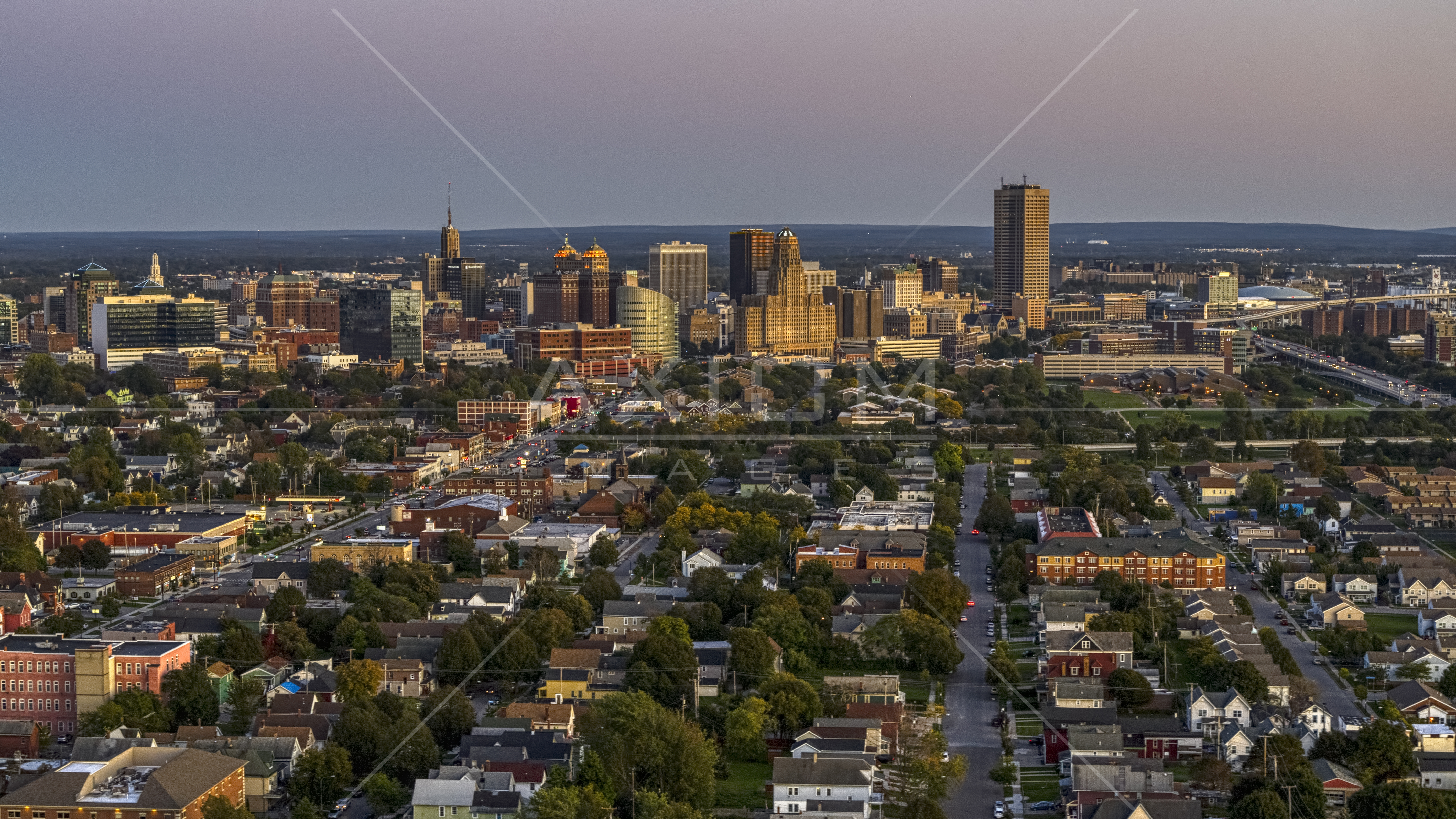 Seneca One Tower And The City S Skyline At Twilight Downtown Buffalo New York Aerial Stock Photo Dxp002 204 0016 Axiom Images