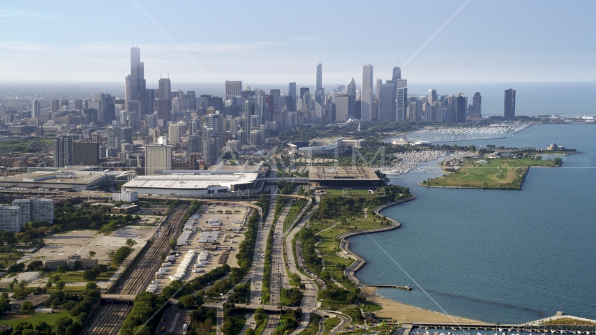 A view of the Downtown Chicago skyline in Illinois Aerial Stock Photo AX0001_015.0000268F | Axiom Images