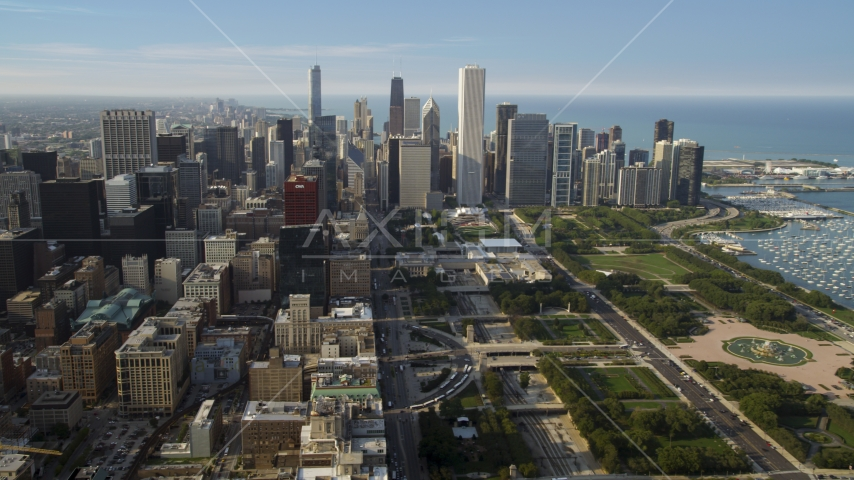 Grant Park and Downtown Chicago skyscrapers, Illinois Aerial Stock Photos | AX0001_023.0000344F