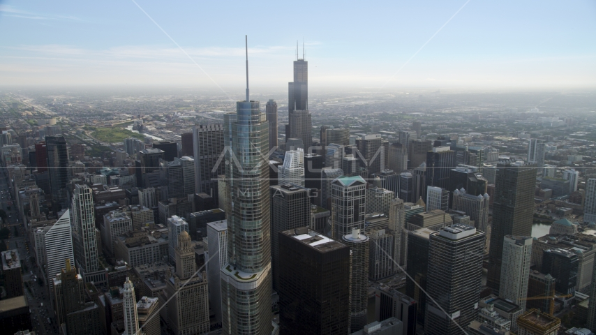 Trump Tower Chicago, and Willis Tower in the distance, Downtown Chicago, Illinois Aerial Stock Photo AX0001_040.0000228F | Axiom Images