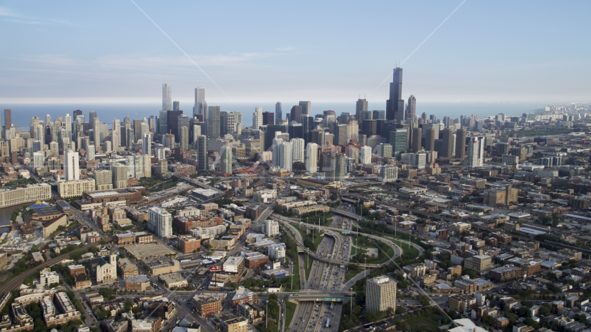 The city's skyline seen from Interstate 90 and 94,  Downtown Chicago, Illinois Aerial Stock Photo AX0001_064.0000381F | Axiom Images
