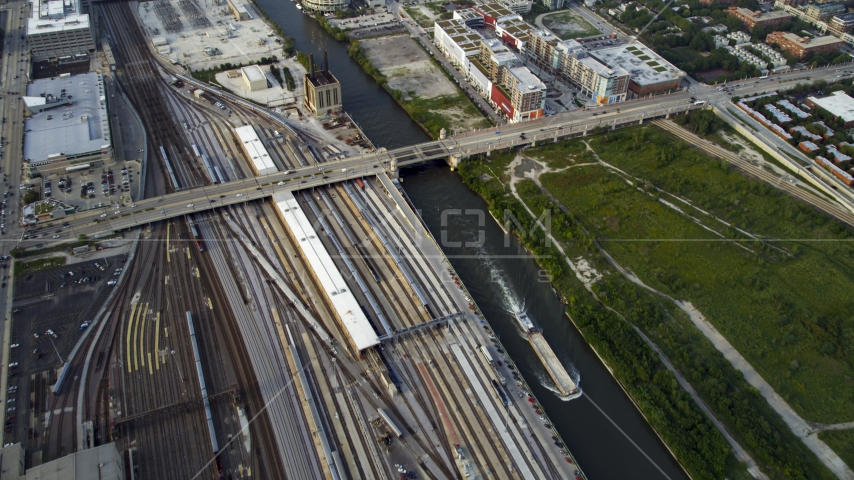Metra Railroad Yard and Chicago River, Downtown Chicago, Illinois Aerial Stock Photo AX0001_078.0000000F | Axiom Images