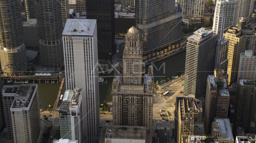 The Kemper Building and 35 East Wacker skyscrapers in Downtown Chicago, Illinois Aerial Stock Photos | AX0001_116.0000156F