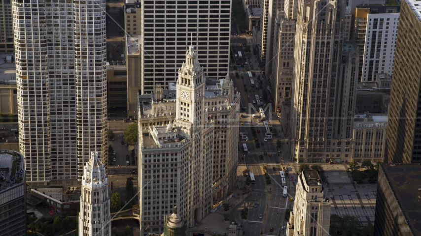 The Wrigley Building in Downtown Chicago, Illinois Aerial Stock Photo AX0001_117.0000038F | Axiom Images