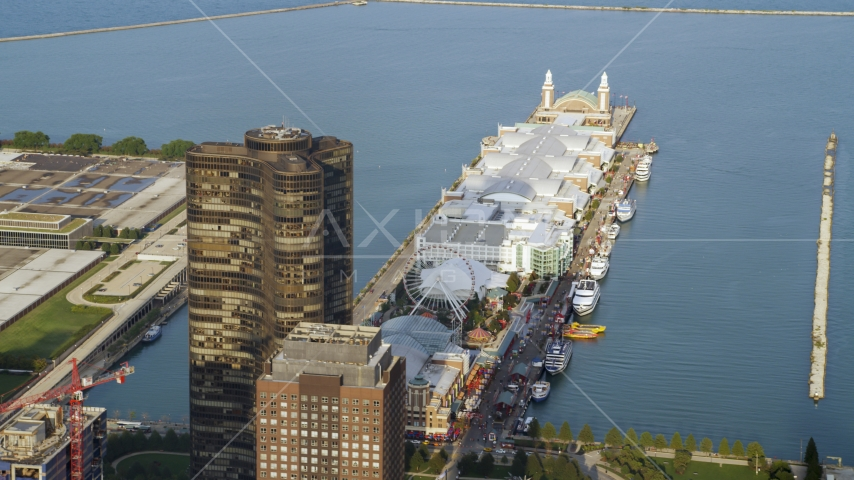 Lake Point Tower and Navy Pier in Downtown Chicago, Illinois Aerial Stock Photos | AX0001_119.0000003F