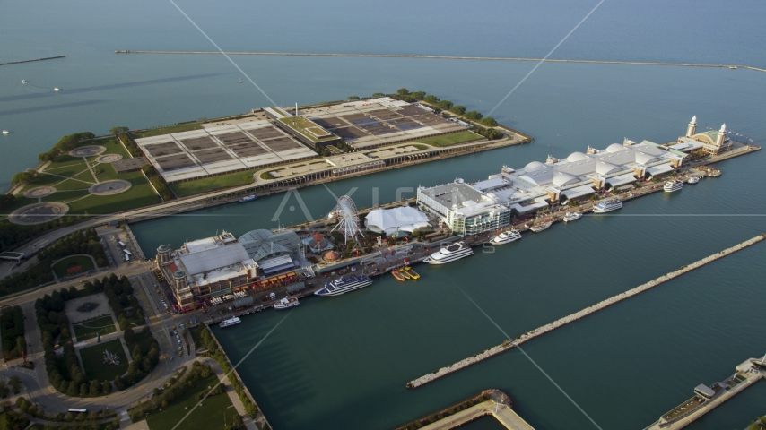The historic Navy Pier in Lake Michigan, Chicago, Illinois Aerial Stock Photos | AX0001_121.0000310F