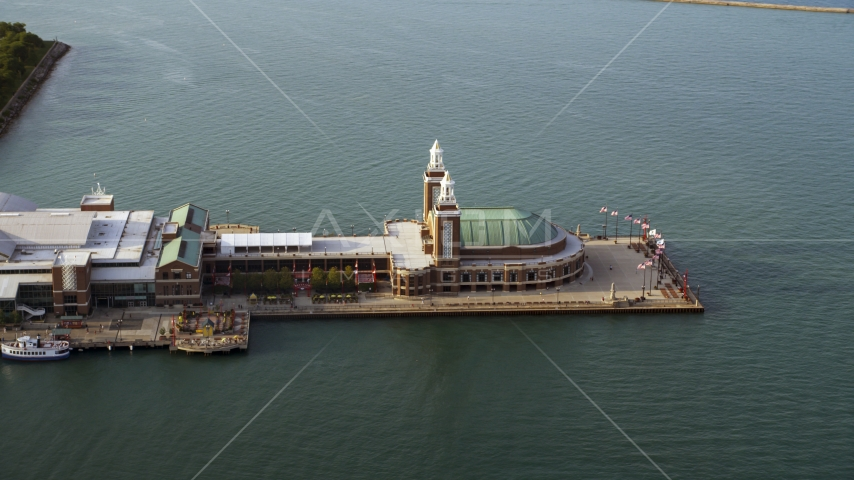 The end of the Navy Pier on Lake Michigan, Chicago, Illinois Aerial Stock Photos | AX0001_123.0000073F