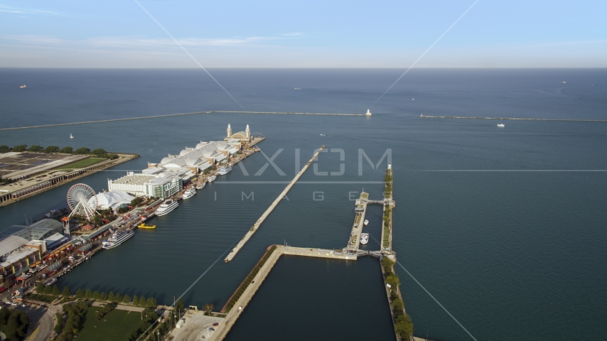 A wide view of Lake Michigan from Navy Pier in Chicago, Illinois Aerial Stock Photos | AX0002_043.0000075F