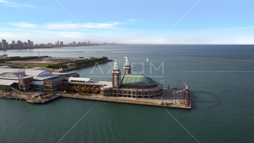 The end of Navy Pier in Chicago, Illinois Aerial Stock Photos | AX0002_045.0000147F