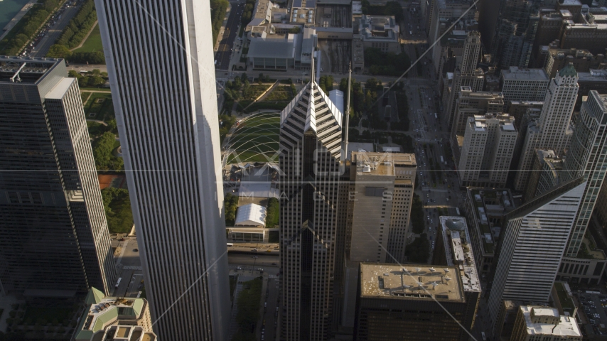 Two Prudential Plaza skyscraper in Downtown Chicago, Illinois Aerial Stock Photos | AX0002_078.0000142F