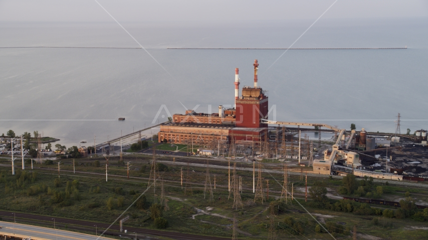 The State Line Generating Plant by Lake Michigan in Hammond, Indiana Aerial Stock Photo AX0003_009.0000322F | Axiom Images