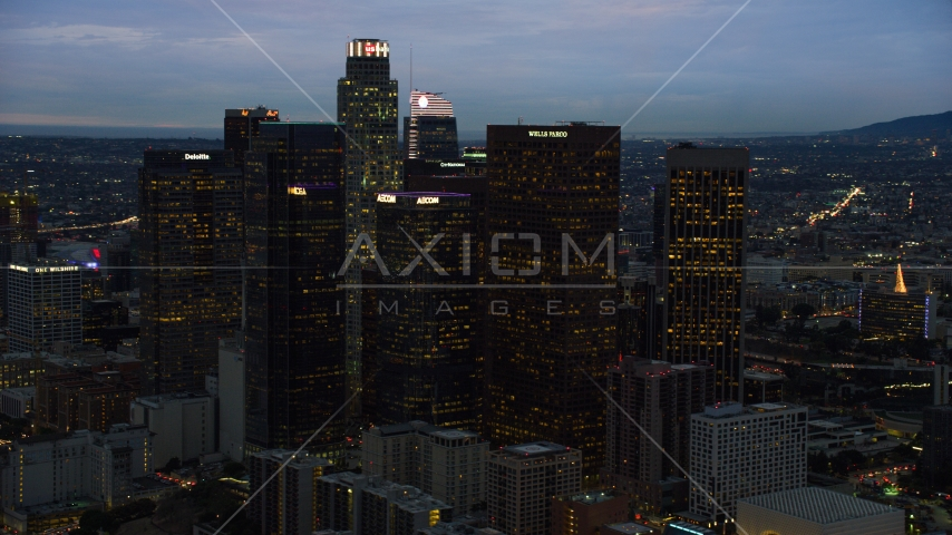Skyscrapers at twilight in Downtown Los Angeles, California Aerial Stock Photos | AX0158_049.0000209