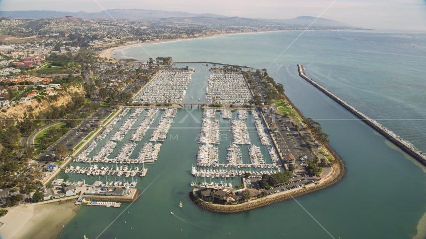 Boats docked at Dana Point Harbor in Dana Point, California Aerial Stock Photos | AX0159_192.0000307