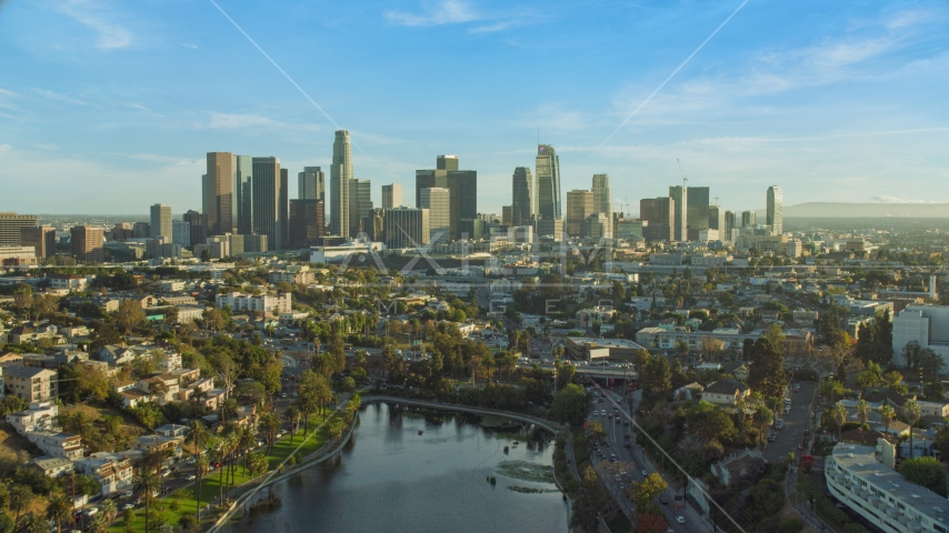 The skyline of Downtown Los Angeles, California seen from Echo Park Lake Aerial Stock Photo AX0162_001.0000318 | Axiom Images