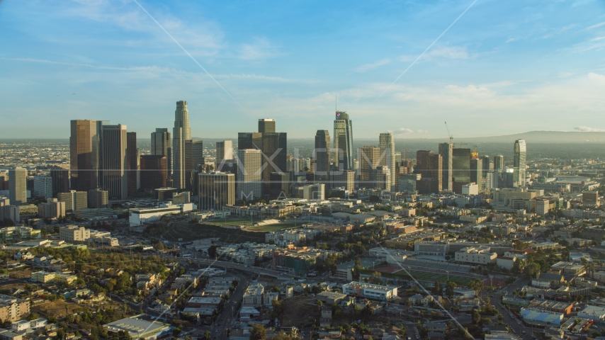 The skyline in Downtown Los Angeles, California Aerial Stock Photos | AX0162_002.0000293