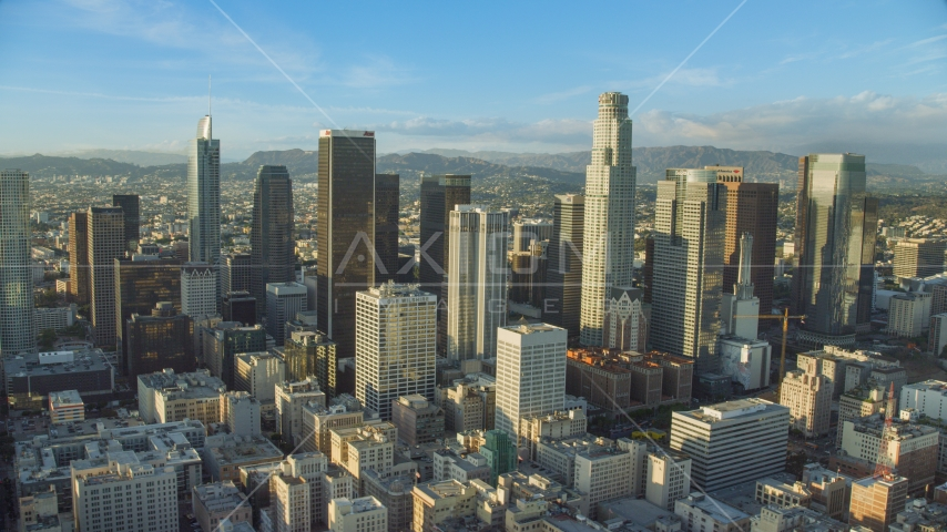 The giant skyscrapers of Downtown Los Angeles, California Aerial Stock Photo AX0162_008.0000346 | Axiom Images