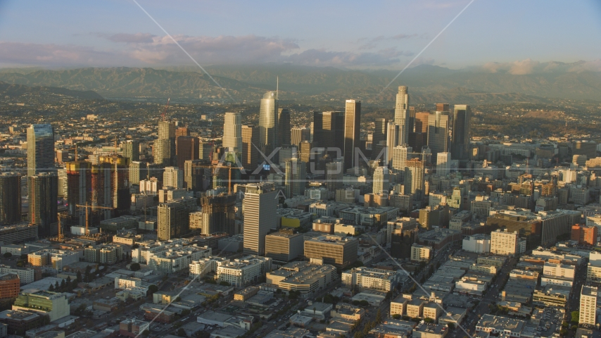 Towering skyscrapers and high-rises in Downtown Los Angeles, California Aerial Stock Photos | AX0162_065.0000110