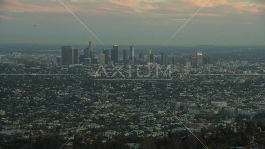 The skyline of Downtown Los Angeles, California at twilight Aerial Stock Photos | AX0162_106.0000414