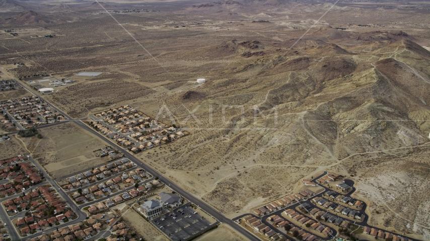 Desert residential neighborhoods in Rosamond, California Aerial Stock Photos | AX06_100.0000078