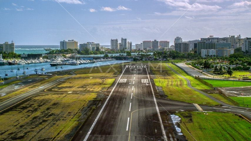 The airport runway on Isla Grande Airport, San Juan, Puerto Rico Aerial Stock Photo AX101_001.0000193F | Axiom Images