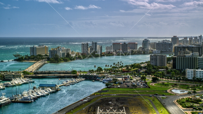 Waterfront hotels and apartment buildings in San Juan, Puerto Rico Aerial Stock Photos | AX101_002.0000198F