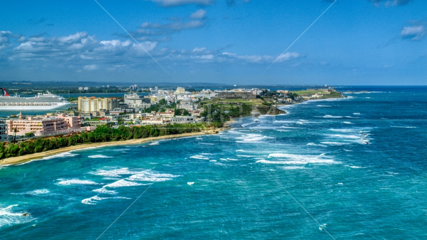 Island Coastline in the Caribbean, San Juan Puerto Rico Aerial Stock Photos | AX101_007.0000230F
