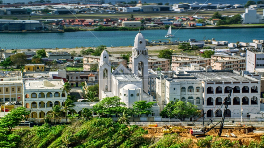 Caribbean island cathedral in San Juan, Puerto Rico Aerial Stock Photo AX101_008.0000119F | Axiom Images