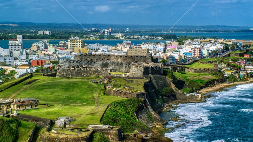 Historic fort on a Caribbean island in Old San Juan, Puerto Rico Aerial Stock Photos | AX101_009.0000000F