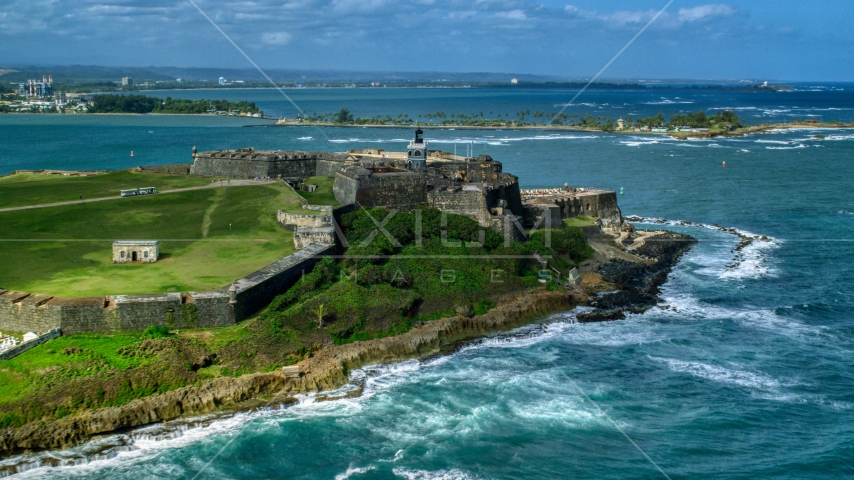 Historic Fort San Felipe del Morro on the coast of Old San Juan, Puerto Rico Aerial Stock Photos | AX101_011.0000142F